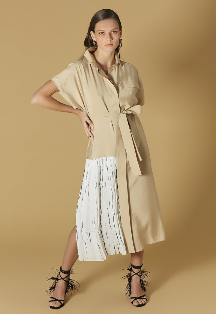 Ipekyol Dress Pleat Natural - Wardrobe Fashion