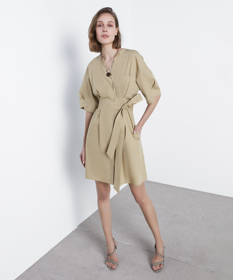Ipekyol Dress Short +Belt Light Khaki - Wardrobe Fashion