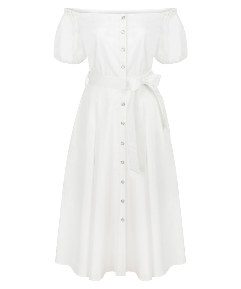 Ipekyol Dress Low Shoulder White - Wardrobe Fashion