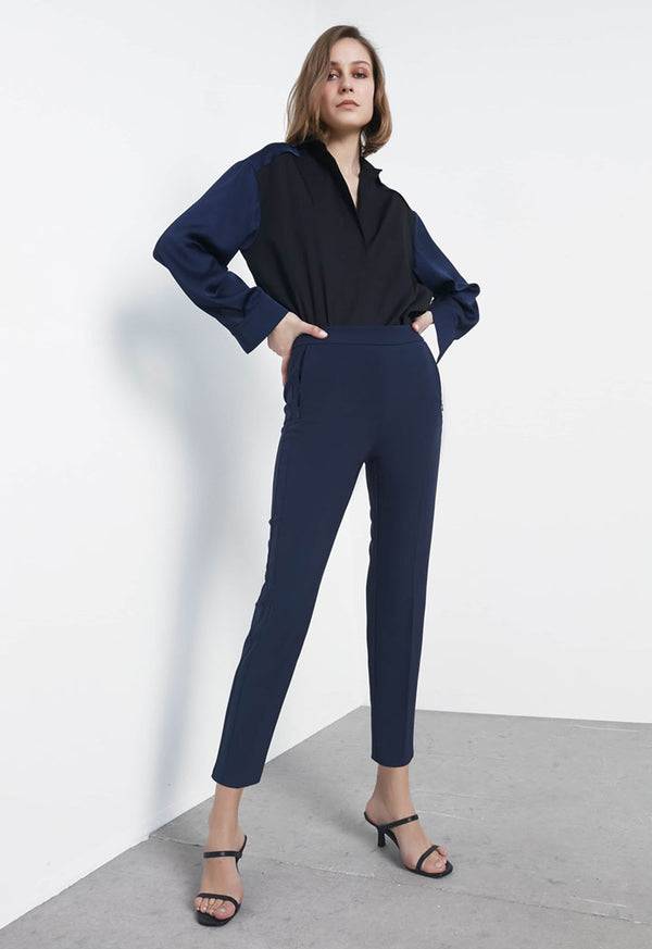 Ipekyol Trouser Fluid Navy Blue - Wardrobe Fashion