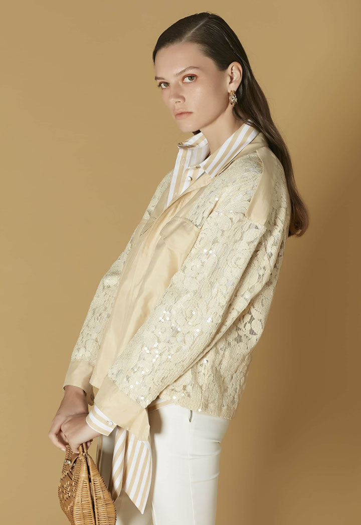 Ipekyol Jacket Lace Sleeve Off White - Wardrobe Fashion
