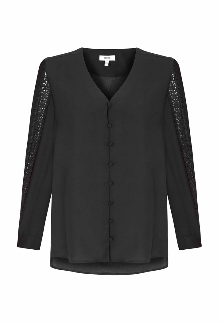 Ipekyol Blouse V-Neck L/S Black - Wardrobe Fashion