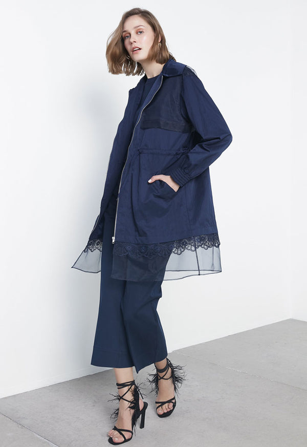 Ipekyol Trenchcoat Zipper Navy Blue - Wardrobe Fashion