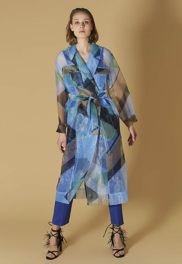 Ipekyol Trenchcoat Full Lace Co Blue - Wardrobe Fashion