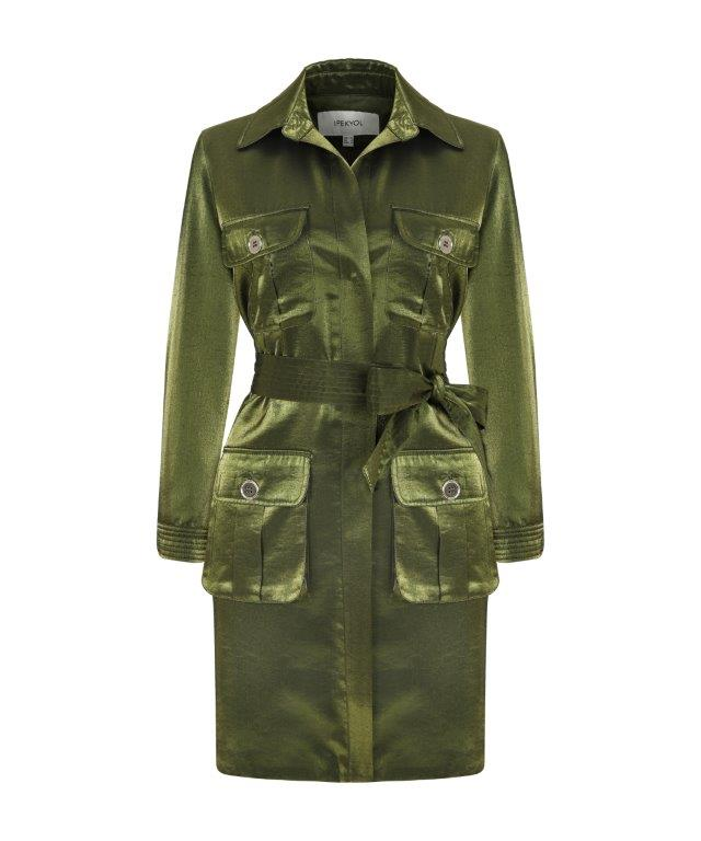 Ipekyol Trenchcoat Fluid 4 Pkt Green - Wardrobe Fashion
