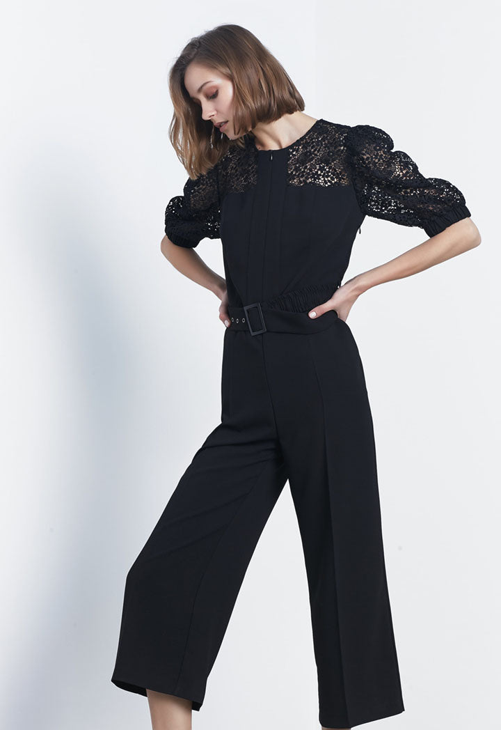 Ipekyol Jumpsuit Lace Edg Black - Wardrobe Fashion