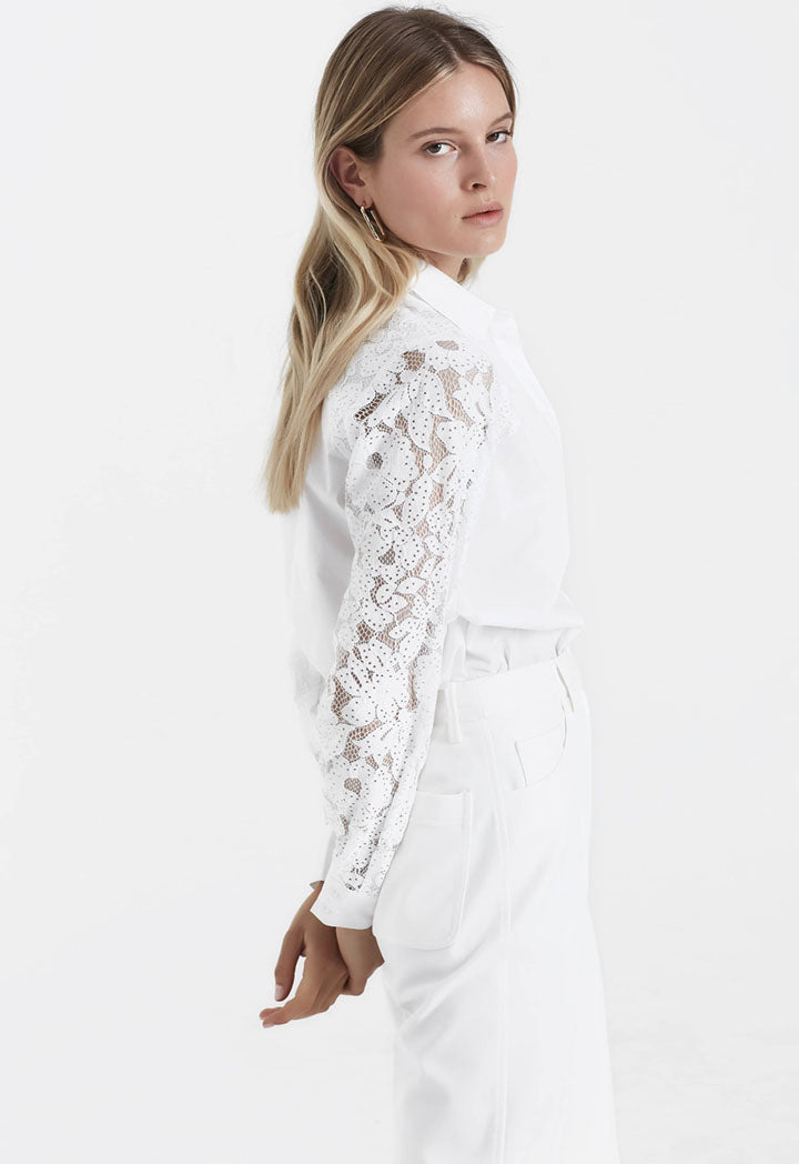 Ipekyol Shirt Lace Sleeve White - Wardrobe Fashion