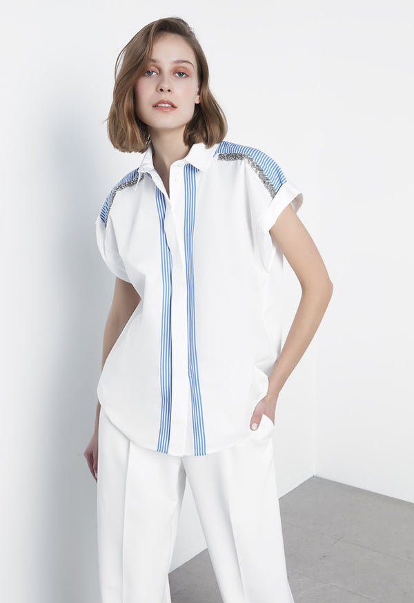 Ipekyol Shirt Stripe S/Sl White - Wardrobe Fashion