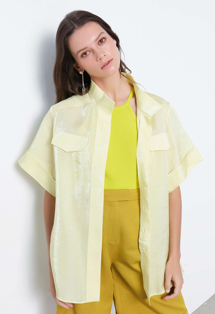 Ipekyol Shirt S/Sl Yellow - Wardrobe Fashion