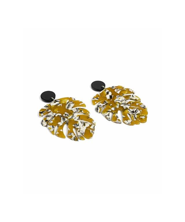 Ipekyol Earrings Printed Mustard - Wardrobe Fashion