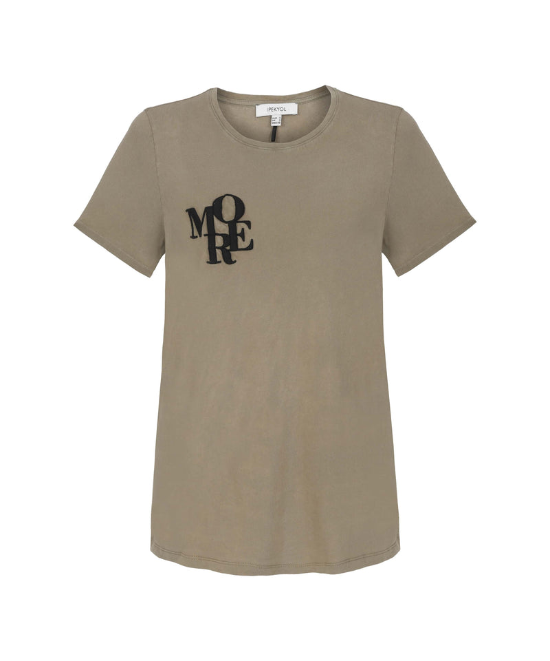 Ipekyol T-Shirt Slogan Embroied Brown - Wardrobe Fashion