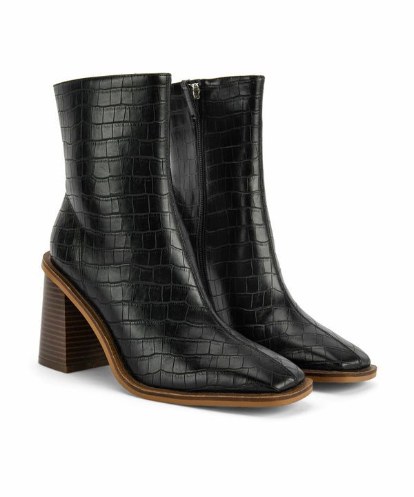 Ipekyol Synthetic Leather Square Cut Boots Black