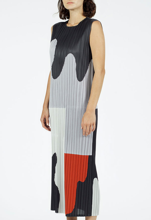 Nu Printed Sleeveless Pleated Slim Fit Dress Mango