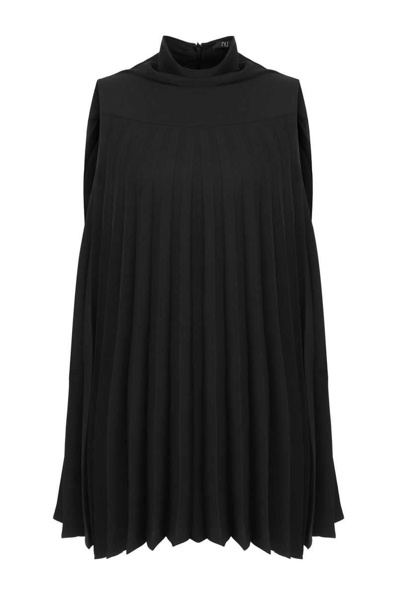 Nu Sleeveless High Neck Pleated Dress Black