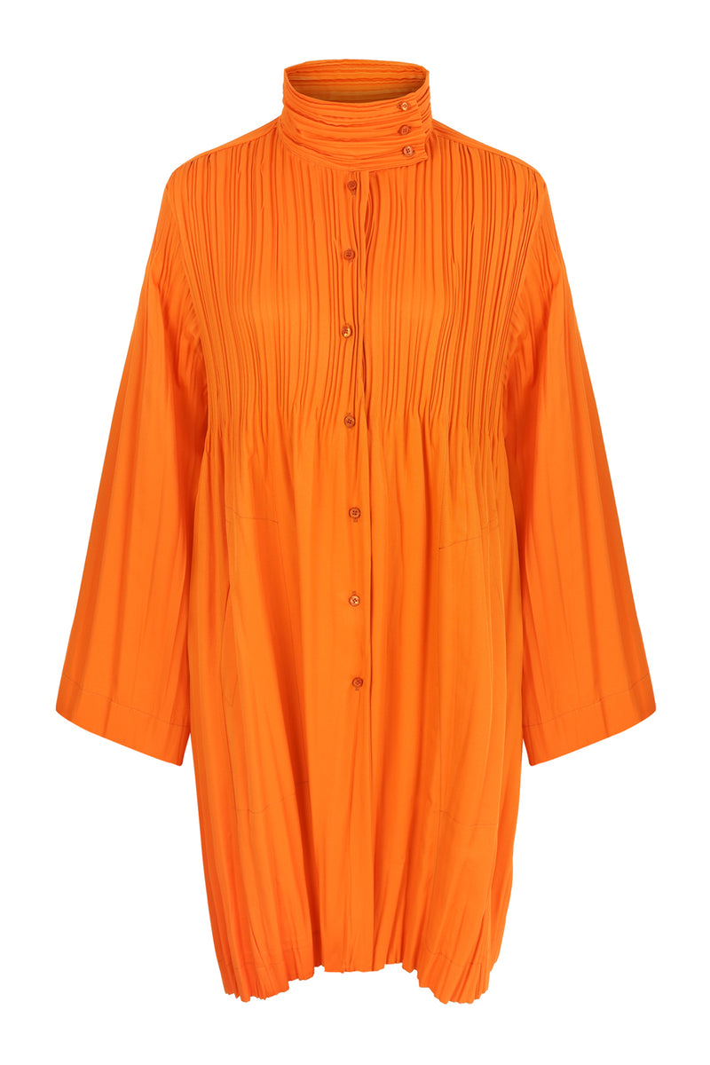 Nu Long Sleeve Pleated Detail Jacket Mandarin