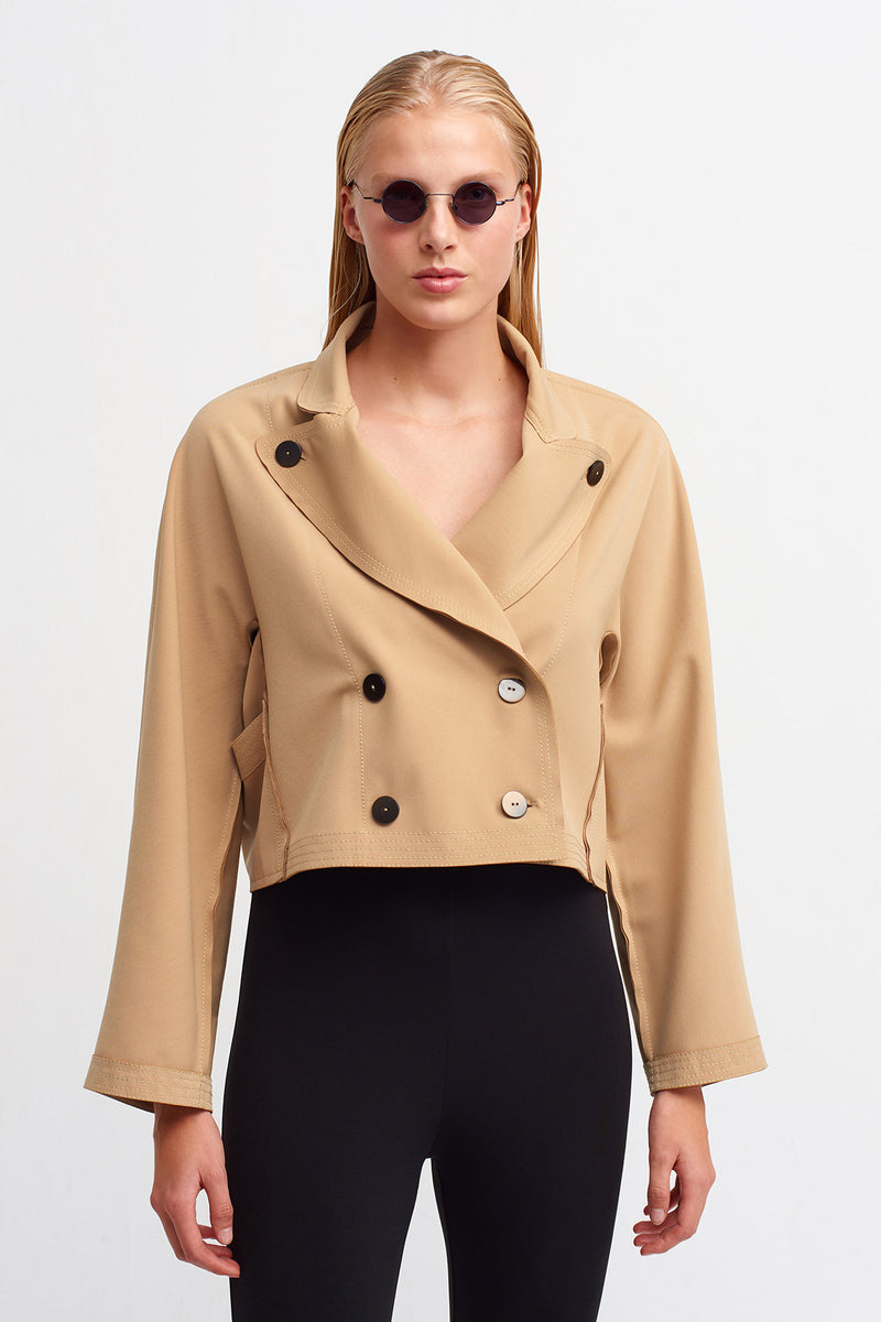 Nu Long Sleeve Double Breasted Jacket Beige