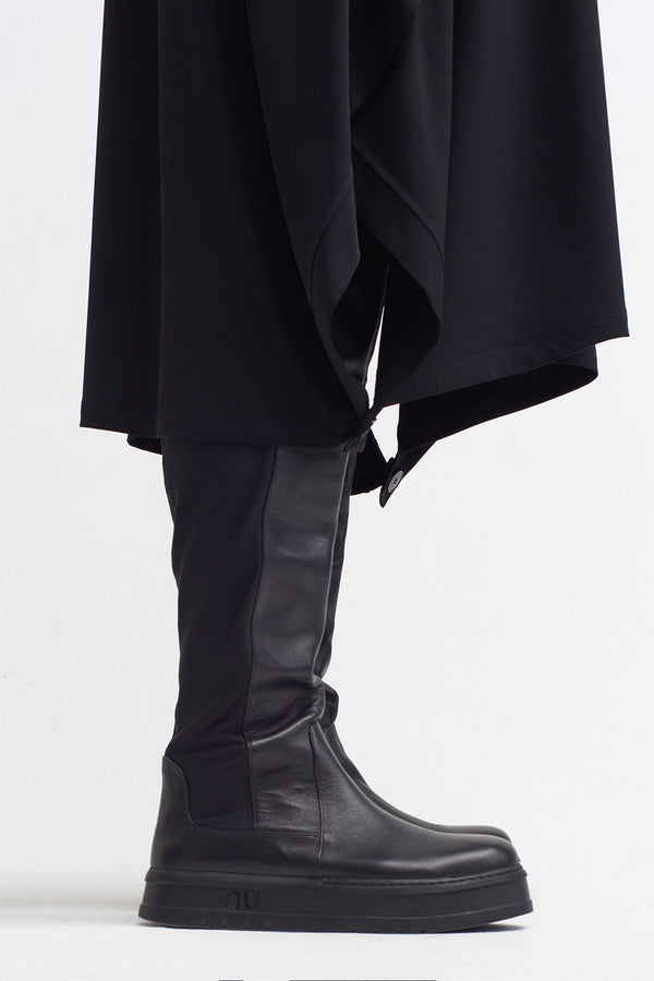 Nu Mix Leather Boots Black