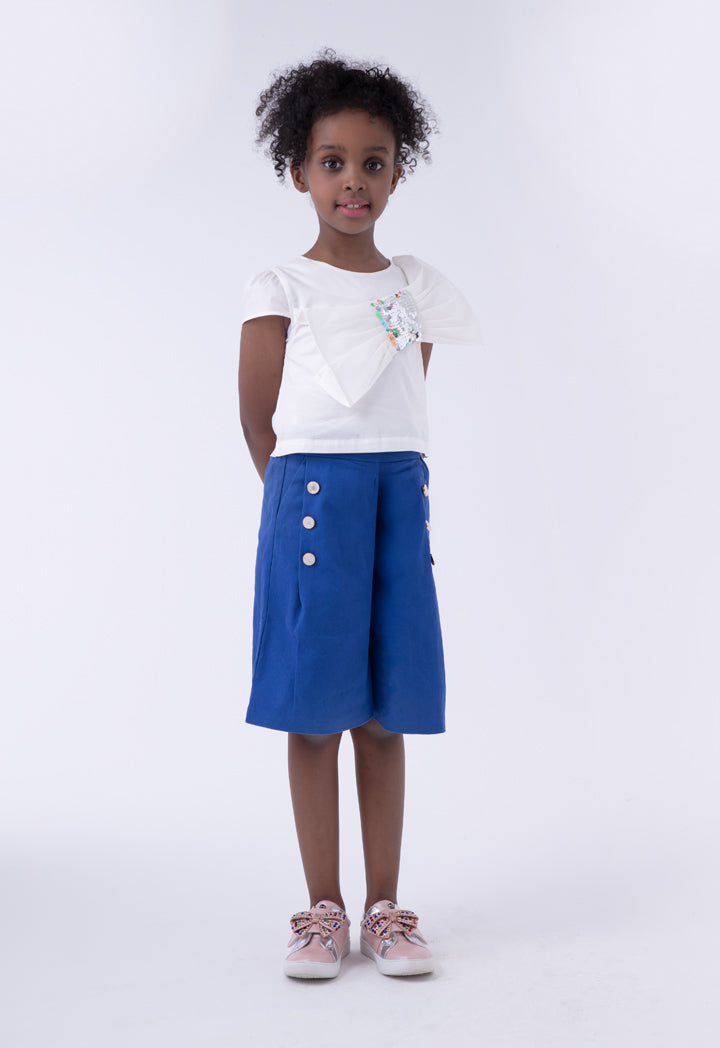 Miss Me Bow Accent Top And Wide Leg Trouser Set White-Navy