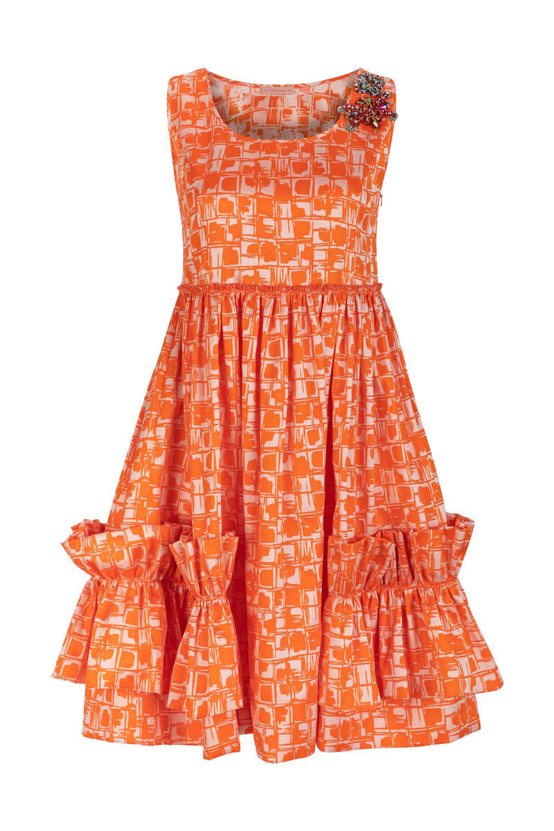 Machka Printed Sleeveless Shoulder-Embellished A-Line Mini Dress Orange