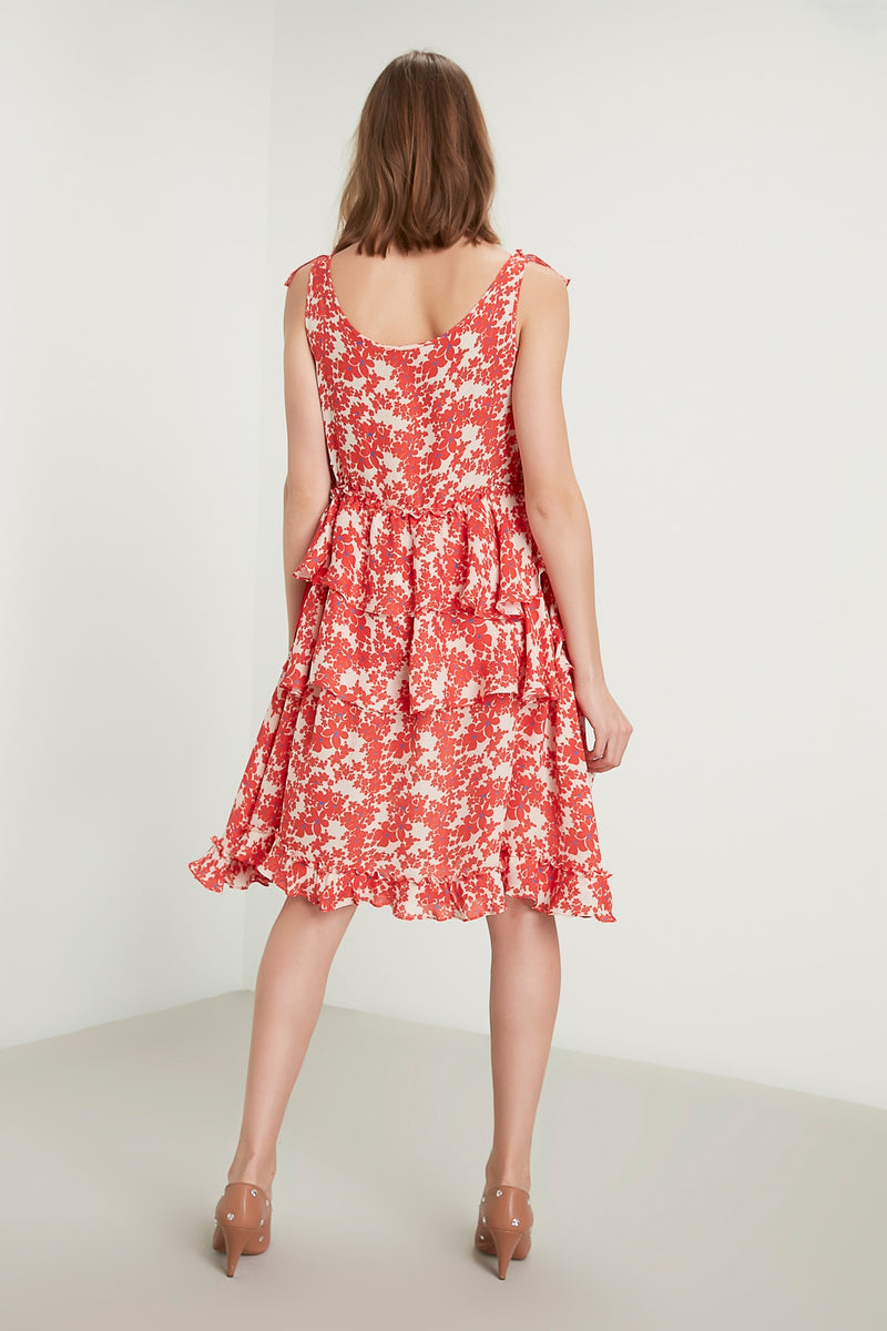 Machka Printed Sleeveless A-Line Layered Short Dress Red