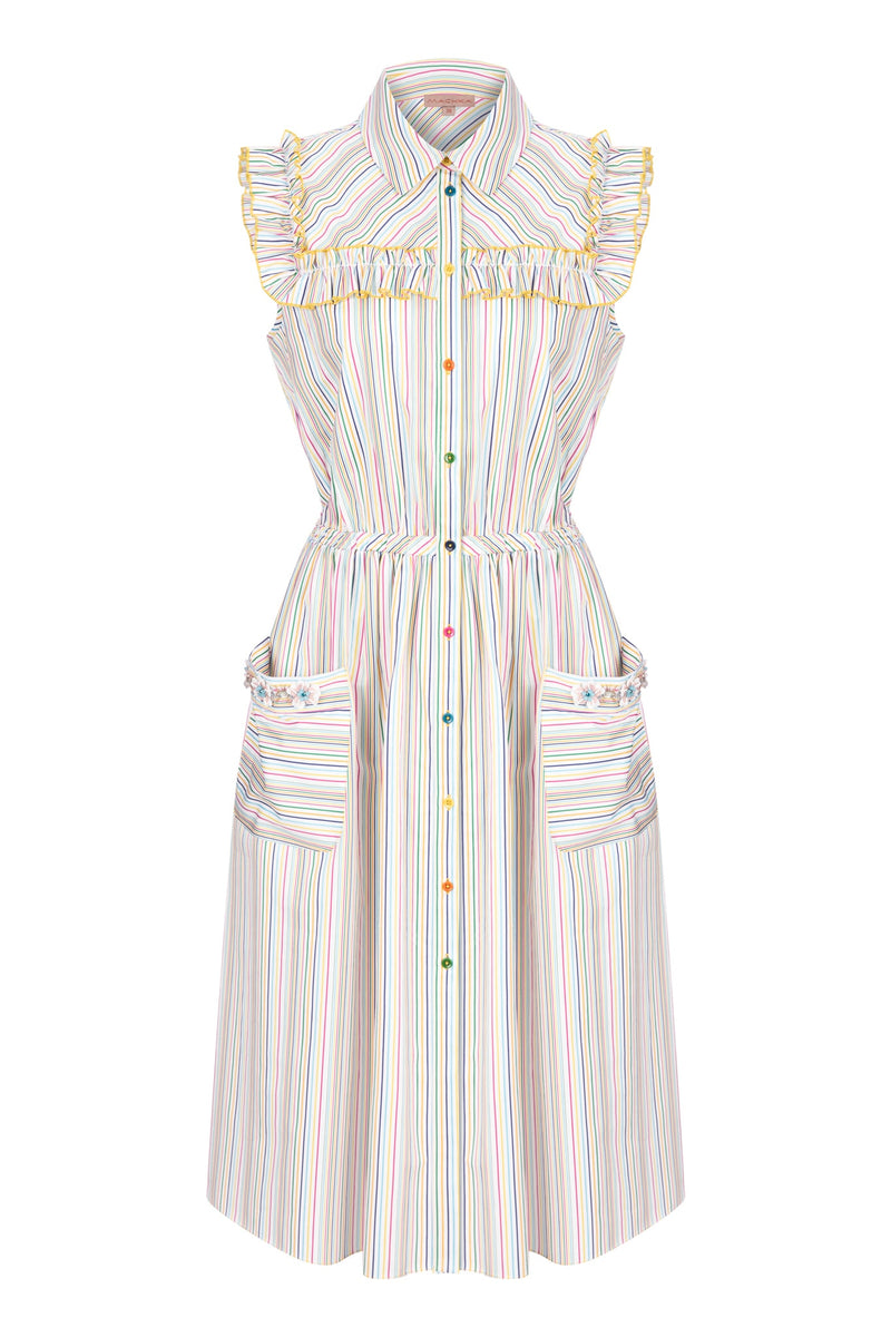 Machka Striped Sleeveless A-Line Shirt Dress Light Pink