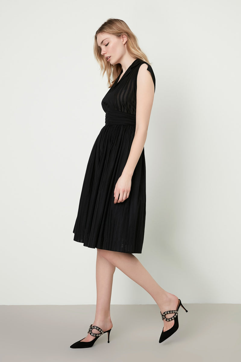 Machka Striped Sleeveless Fit And Flare Short Dress Black