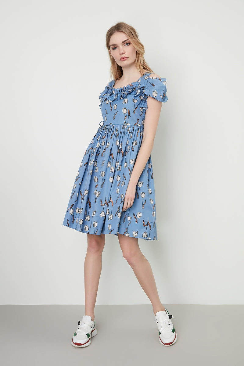 Machka Cold Shoulder With Frill Detail A-Line Pleated Mini Dress Sky Blue