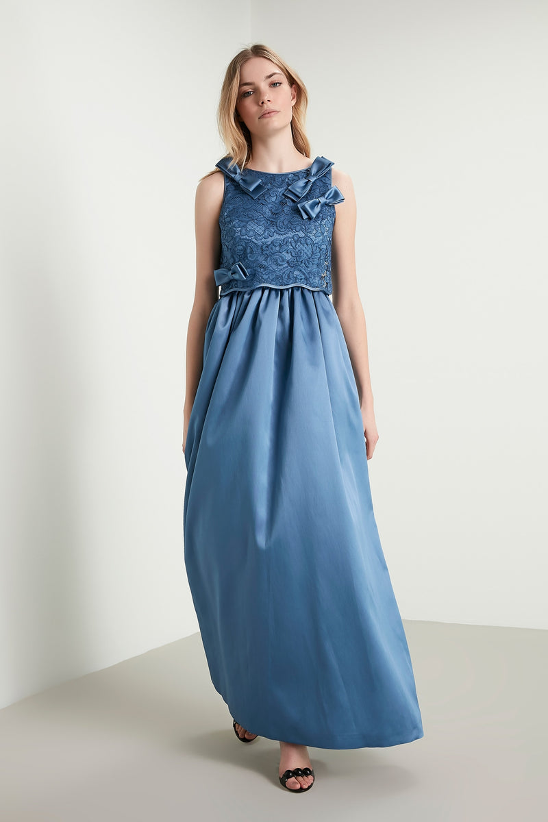 Machka Sleeveless Bow-Front Lace Detail A-Line Long Dress Blue