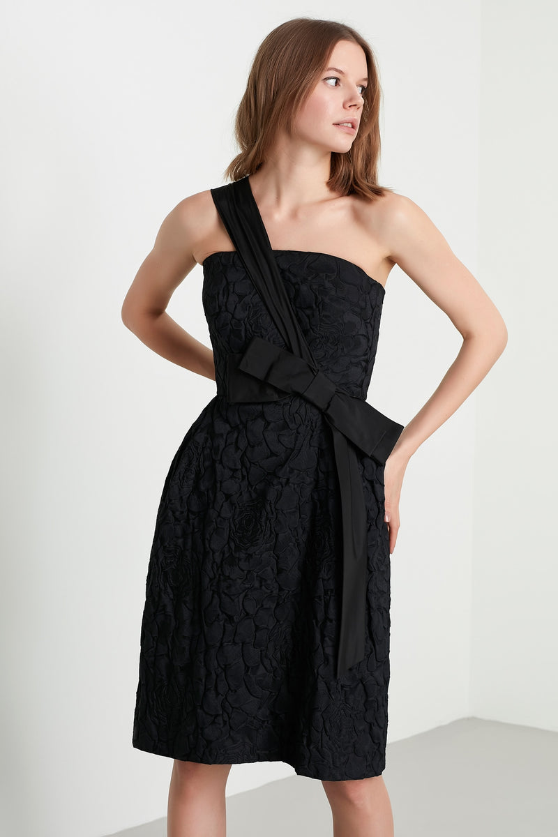 Machka One Shoulder Bow-Front A-Line Short Dress Black