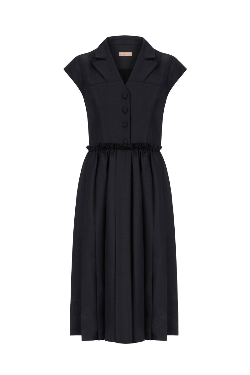 Machka Short Sleeve Frill Waist Pleated A-Line Dress Black