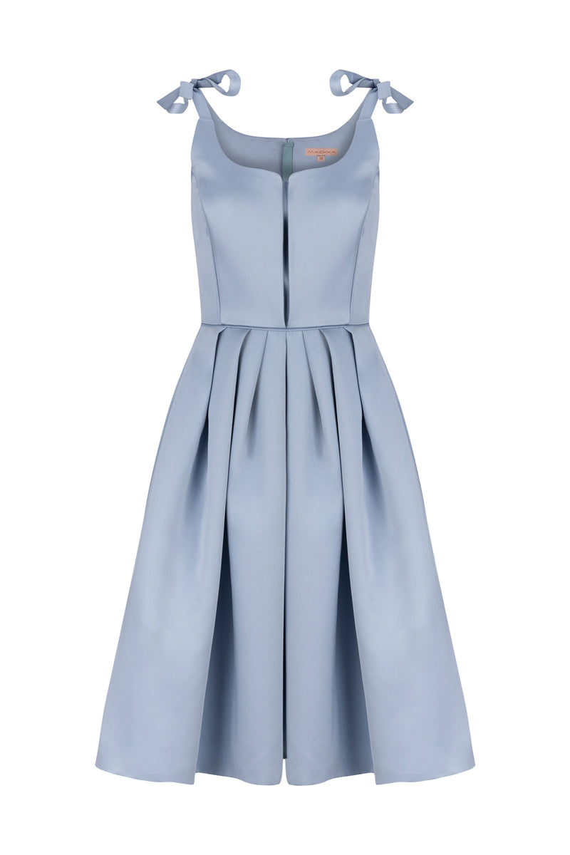 Machka Sleeveless Fit and Flare Short Dress Light Blue
