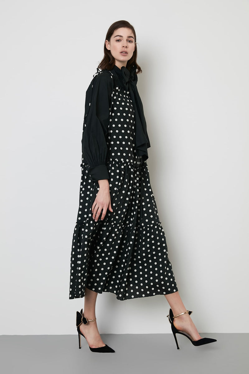 Machka Dress Long Polka Dots Green