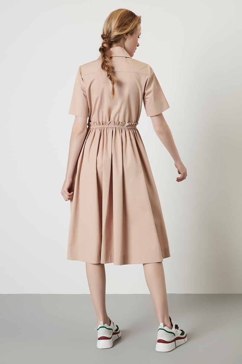 Machka Dress Long Shirt Pleat  Beige