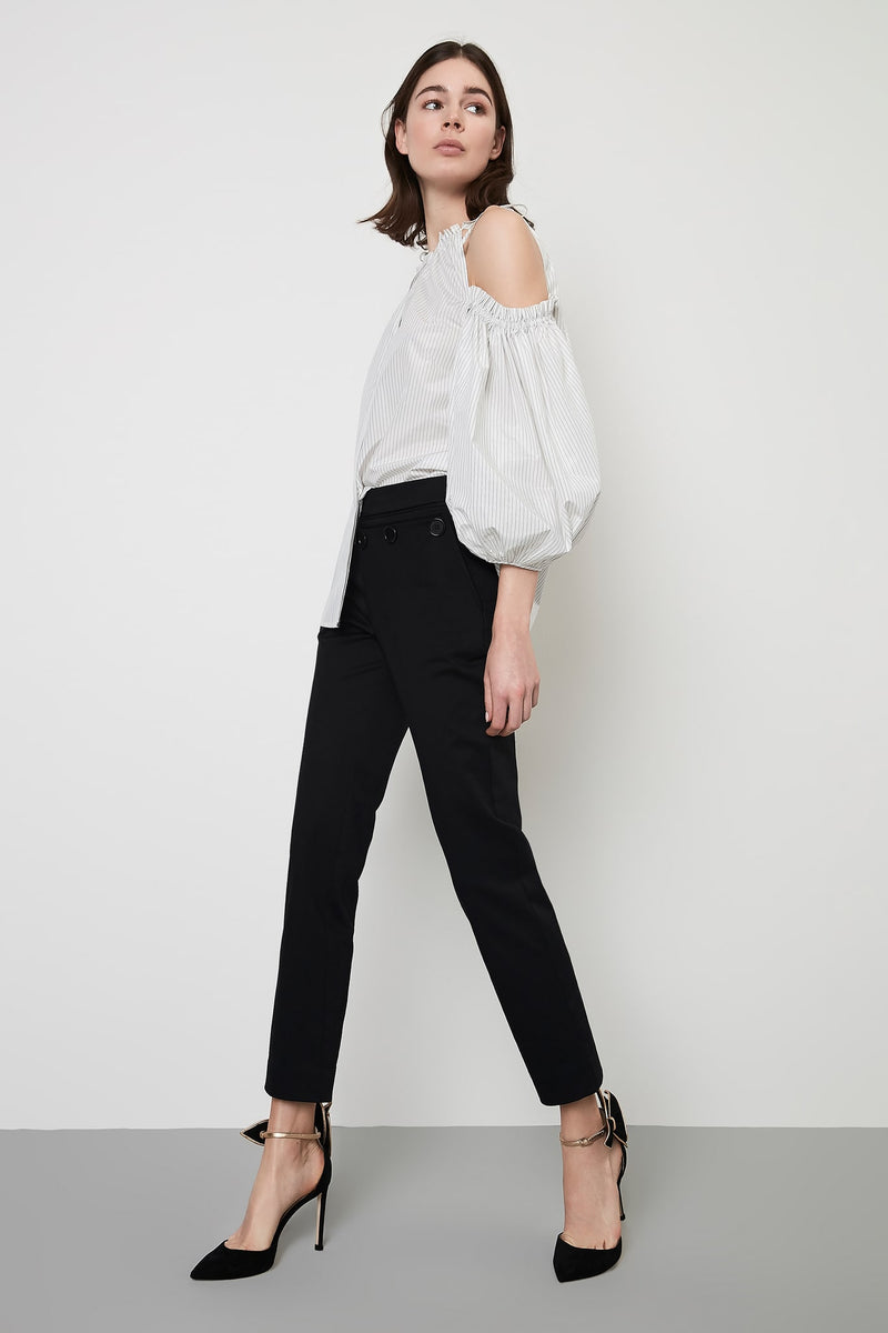 Machka Trouser Skinny Button Black