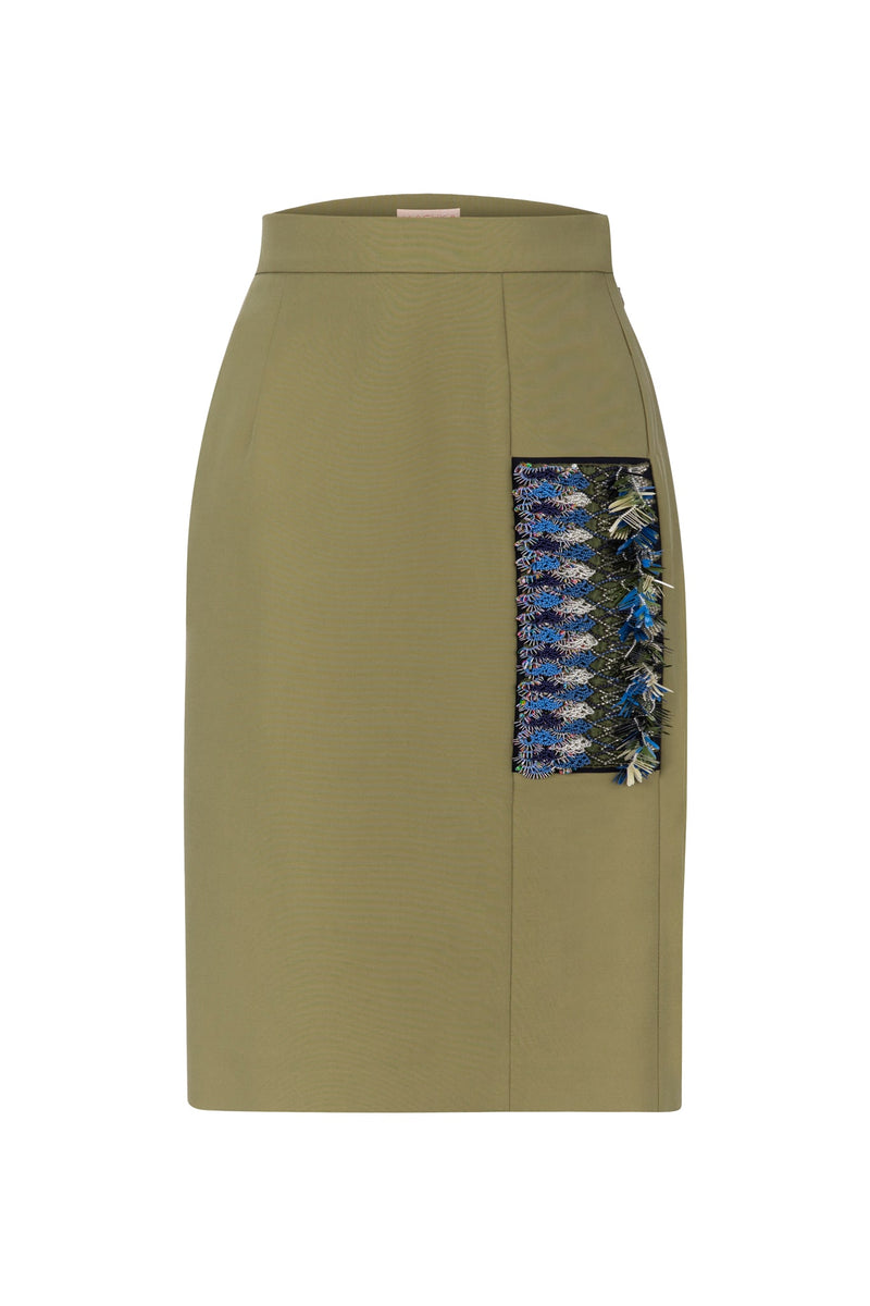 Machka High Waist Embellished Pencil Mini Skirt Light Khaki