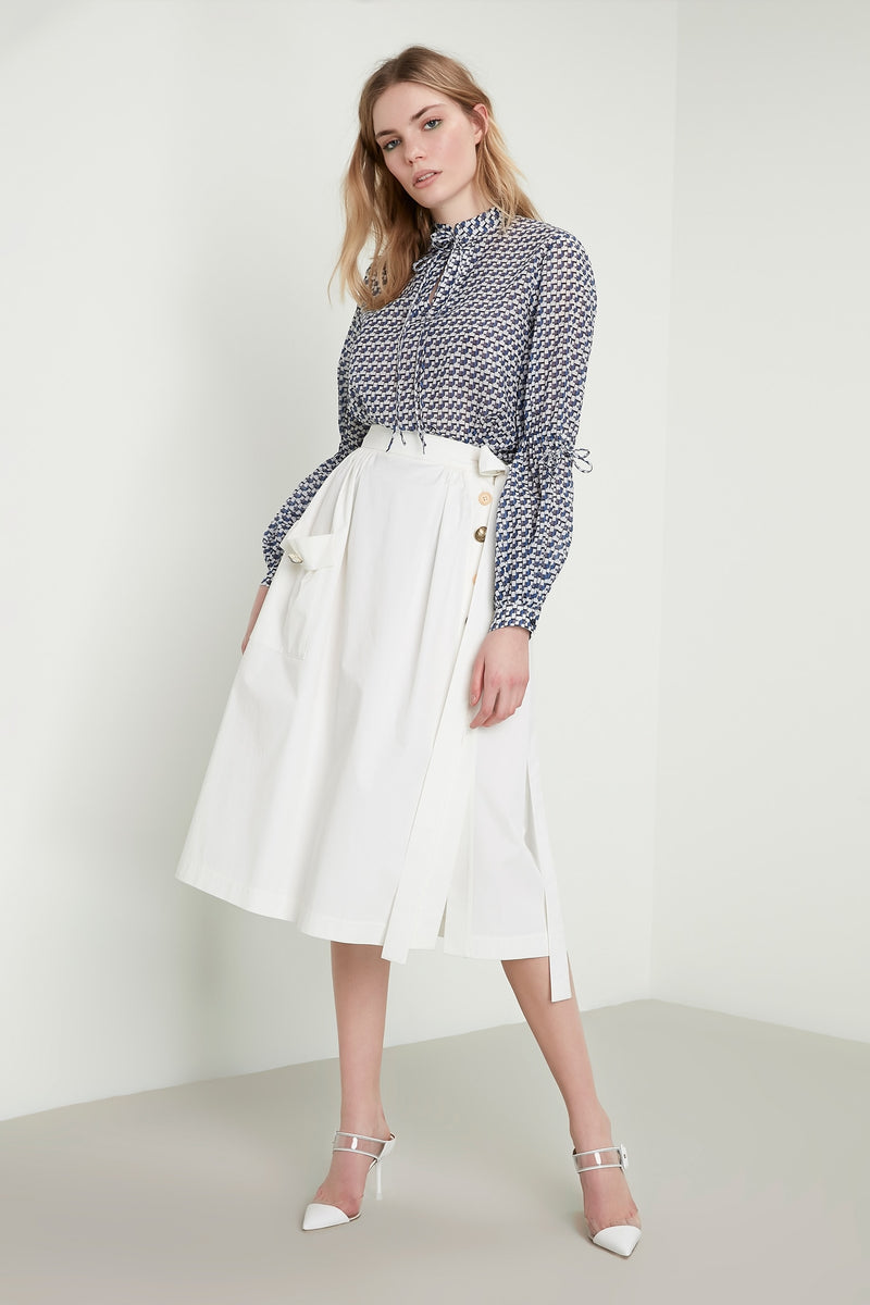 Machka Belted-Button Edge Detail Skirt White