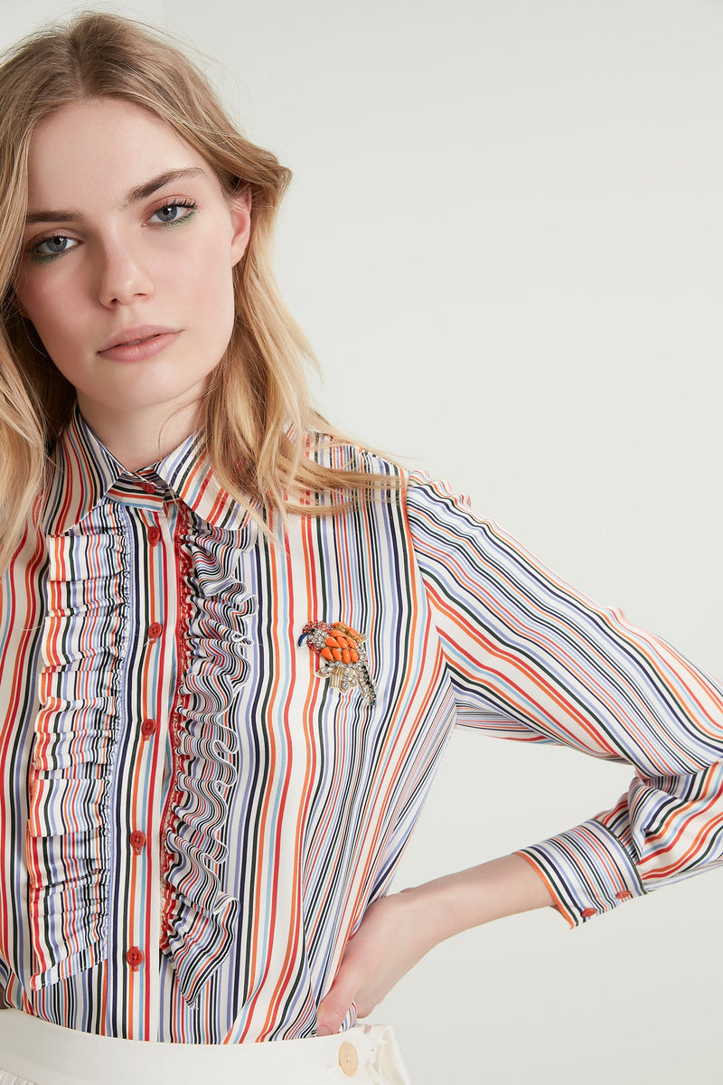 Machka Striped Long Sleeve Frill-Embellished Detail Shirt Blue