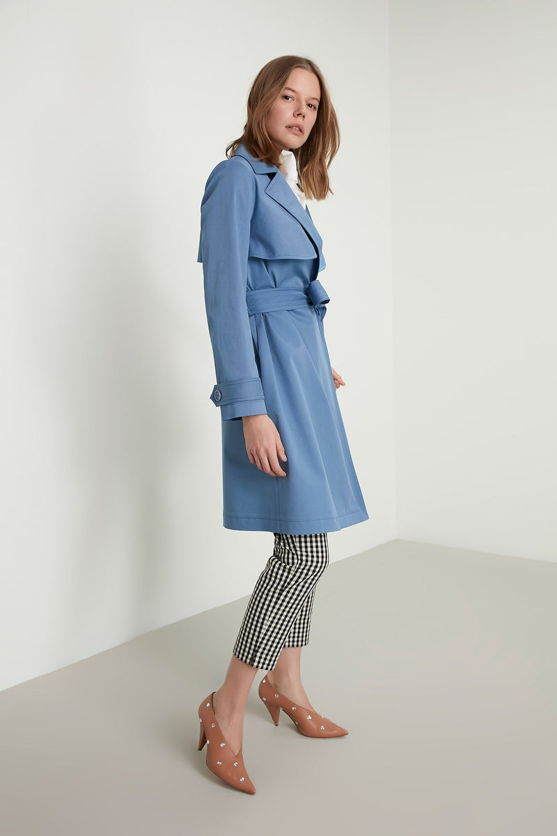 Machka Notched Collar Open-Front Belted Trench Coat Sky Blue