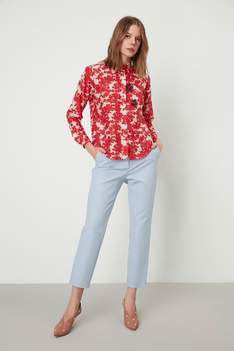 Machka Floral Print Long Sleeve Embellished Shirt Red
