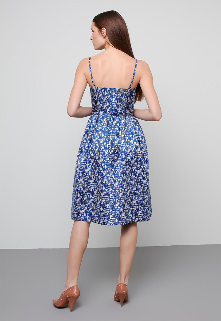 Machka Dress Jacquard Gli Indigo - Wardrobe Fashion