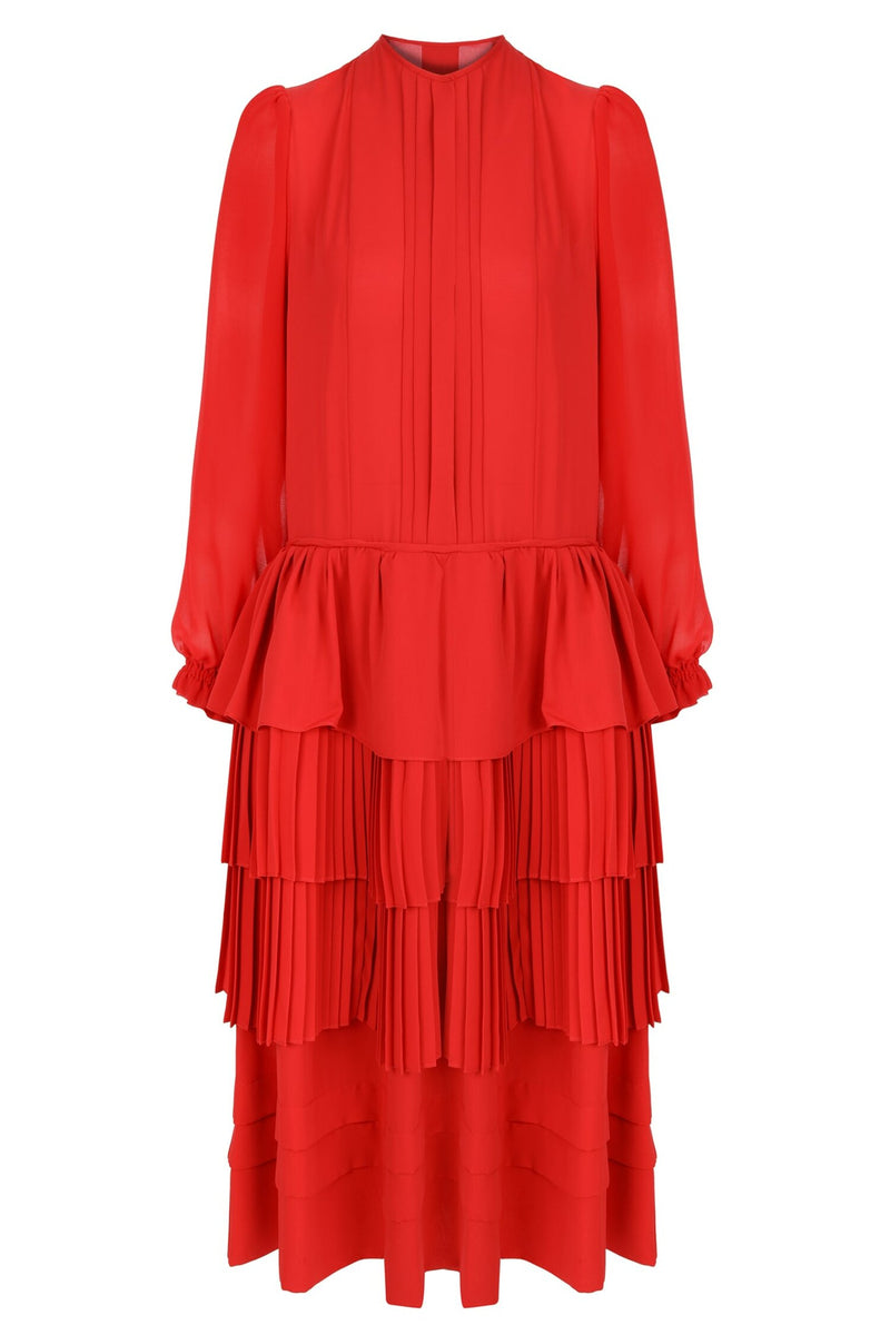 Machka Long Sleeve Pleat And Ruffle Detail Short Dress  Red
