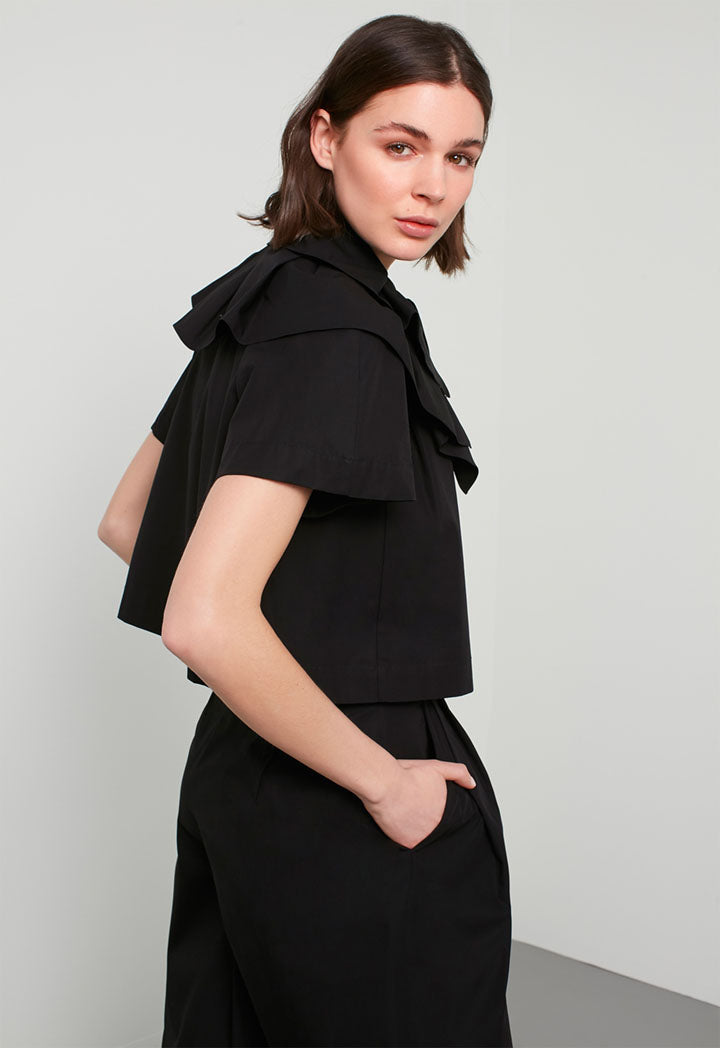 Machka Blouse Short Laye Black - Wardrobe Fashion