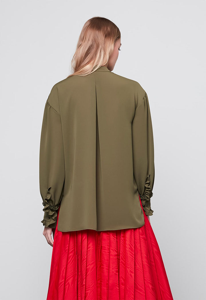 Machka Blouse L/Sl Khaki - Wardrobe Fashion