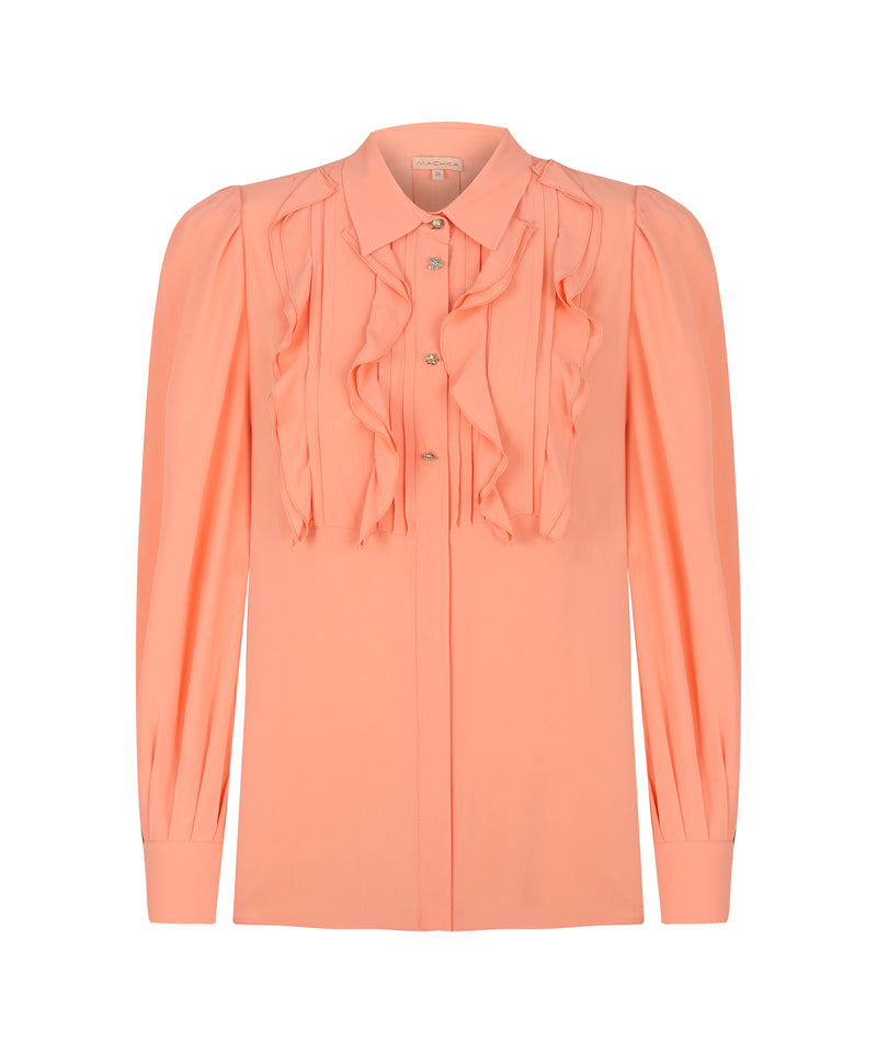 Machka Ruffle-Pintuck Detail Shirt Pink