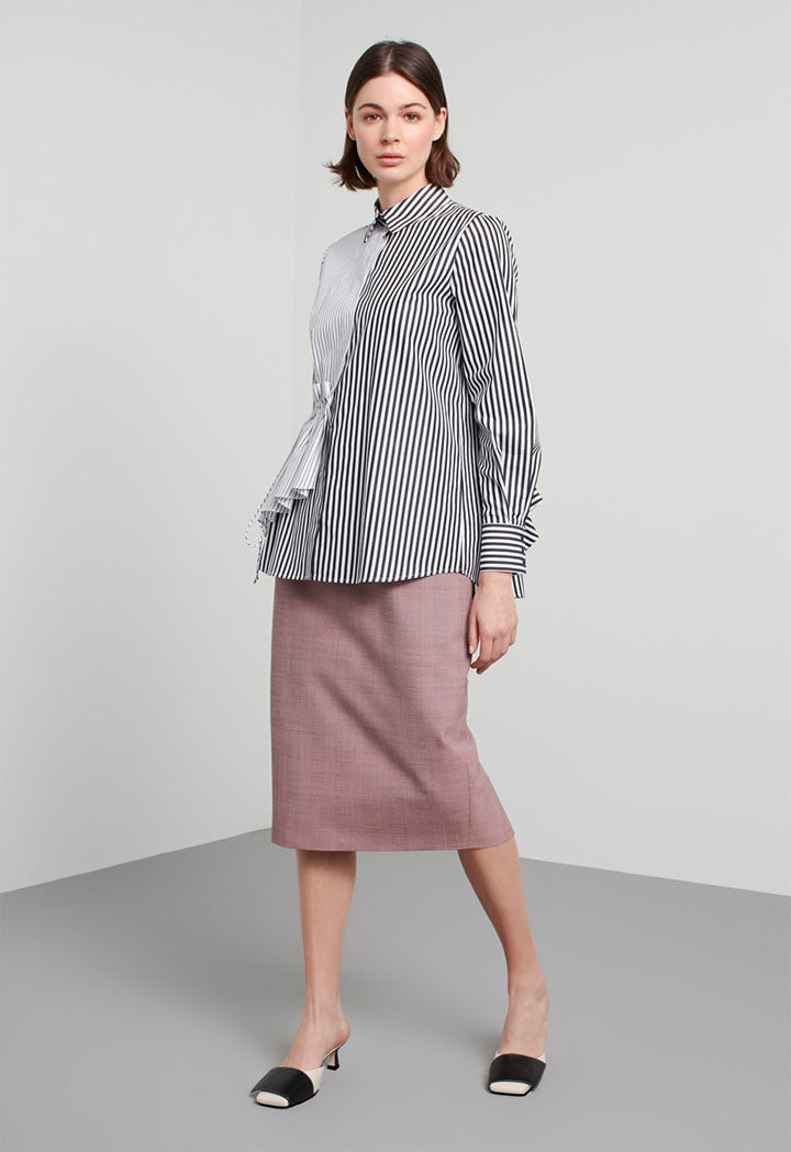Machka Shirt Stripe Pleat Edge Black - Wardrobe Fashion