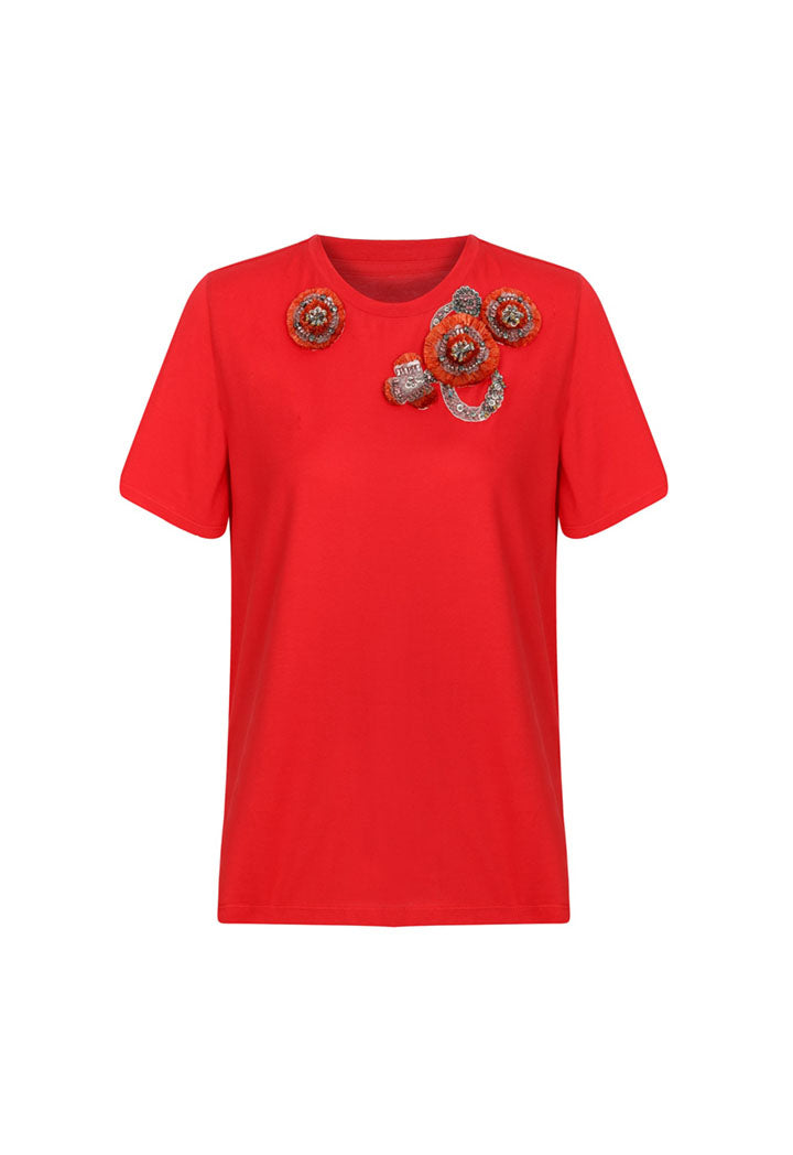 Machka T-Shirt Emblished S/Sl Red - Wardrobe Fashion