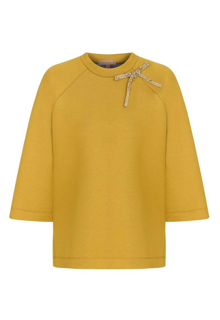 Machka T-Shirt Sequience Bow Mustard - Wardrobe Fashion