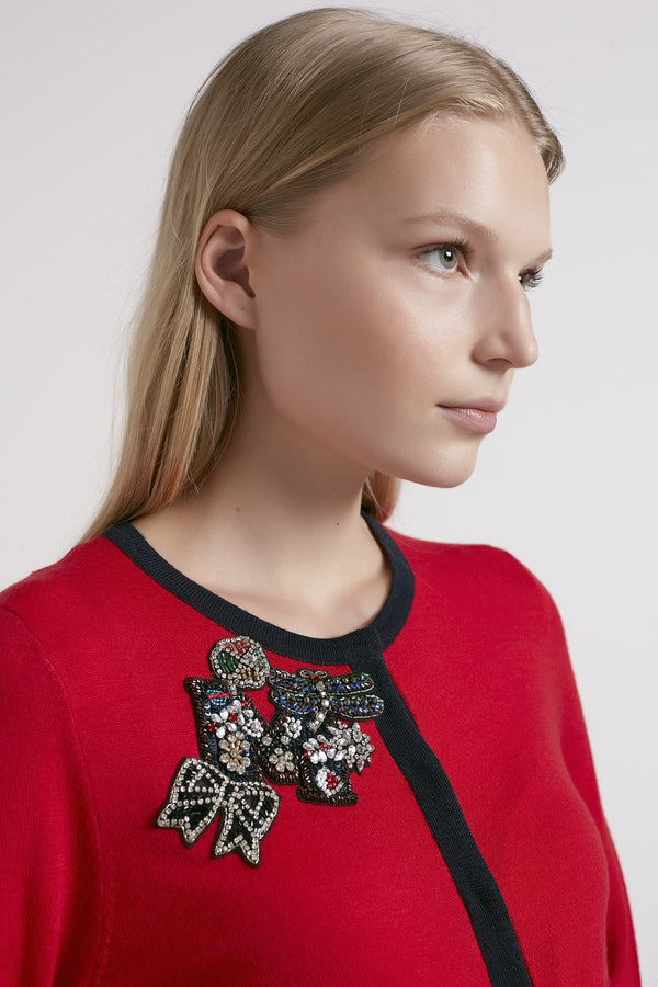 Machka Embellished Detail Cardigan Red