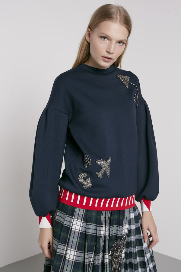 Machka Embellished Detail Sweater Navy Blue