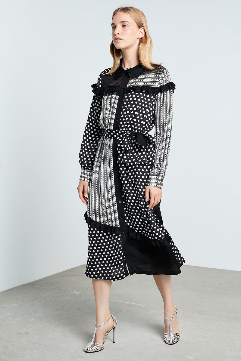 Machka Polka Dot Long Sleeve Belted A-Line Midi Dress Black